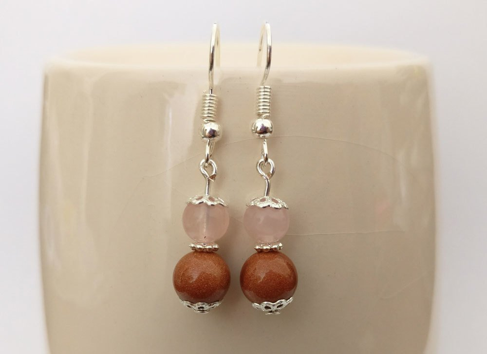 Goldstone and Rose Quartz Round Beads Dangle Earrings