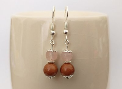 Goldstone and Rose Quartz Round Beads Dangle Earrings