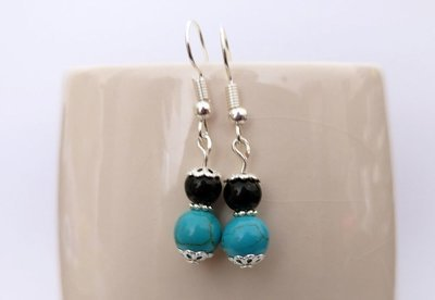 Turquoise and Black Onyx Round Beads Dangle Earrings