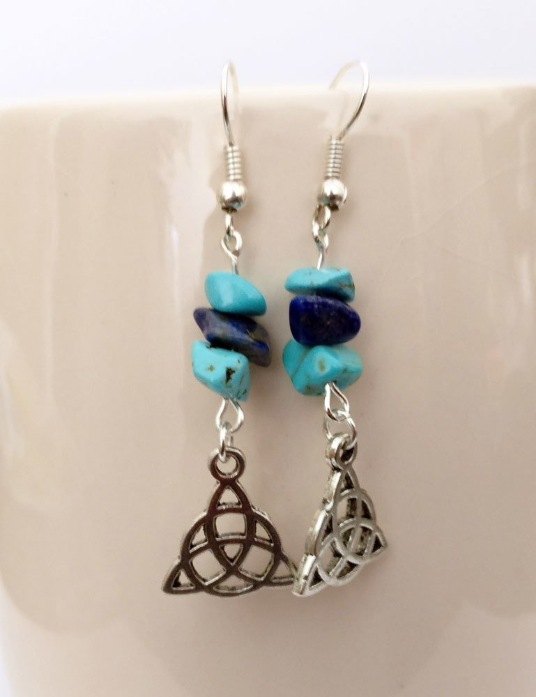 Turquoise and Lapis Lazuli with Triquetra Dangle Earrings