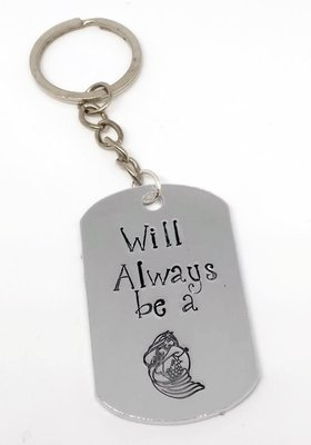 Will Always be a Mermaid Handstamped Keyring