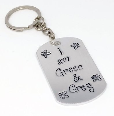 Green and Grey Handstamped Keyring
