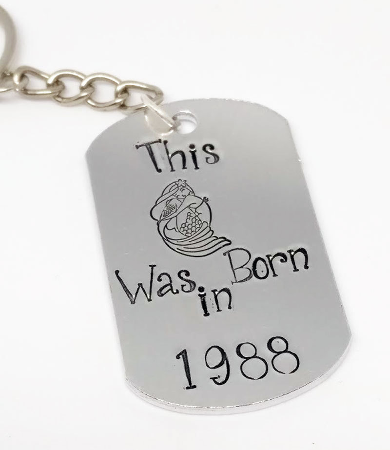 This Mermaid was Born in Handstamped Keyring