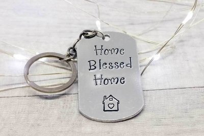 Home Blessed Home Handstamped Keyring
