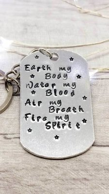 Earth my Body Handstamped Keyring