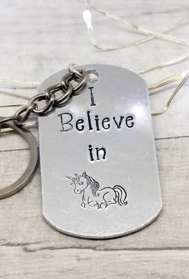 I Believe in Unicorns Handstamped Keyring