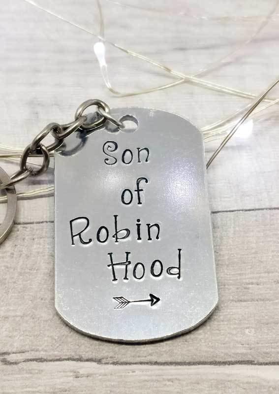 Son of Robin Hood Handstamped Keyring
