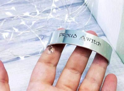 Proud Witch Metal Stamped Cuff Bracelet