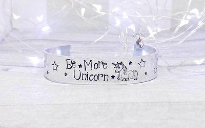 Be More Unicorn Metal Stamped Cuff Bracelet