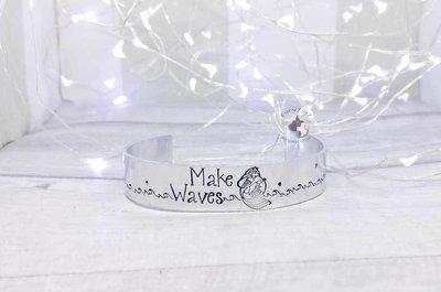 Make Waves Mermaid Metal Stamped Cuff Bracelet