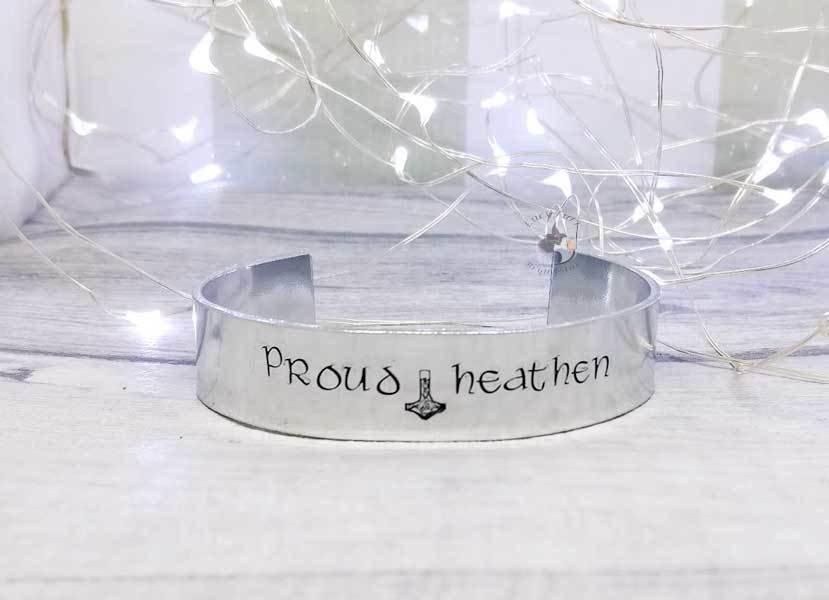Proud Heathen Metal Stamped Cuff Bracelet