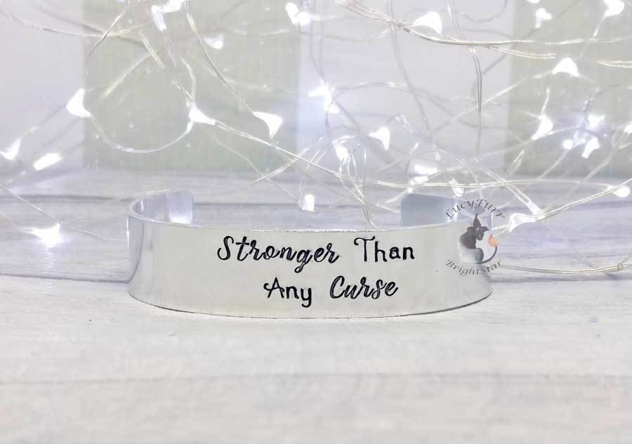 Stronger than Any Curse Metal Stamped Cuff Bracelet