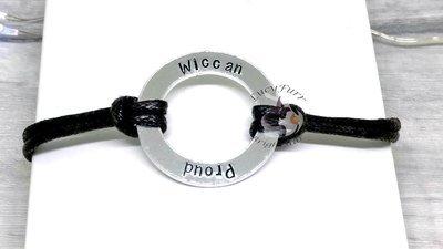 Proud Wiccan Metal Stamped Bracelet