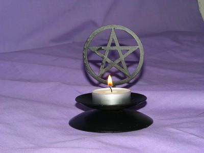 Laser Cut Pentagram Design Candle Holder