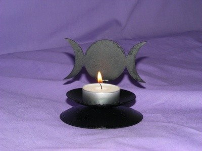 Laser Cut Triple Moon Design Candle Holder