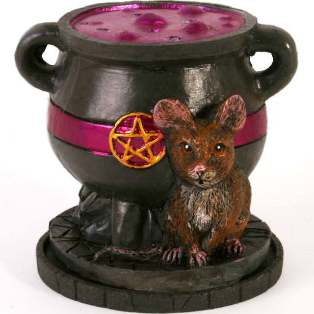 Cauldron with Mouse Cone Incense Burner