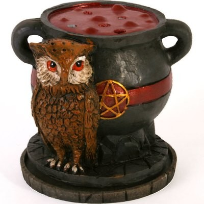 Cauldron with Owl Cone Incense Burner