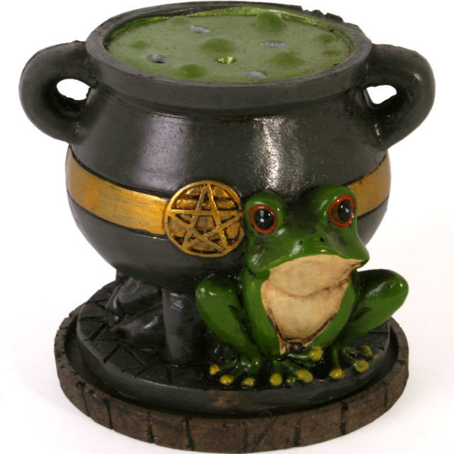 Cauldron with Toad Cone Incense Burner
