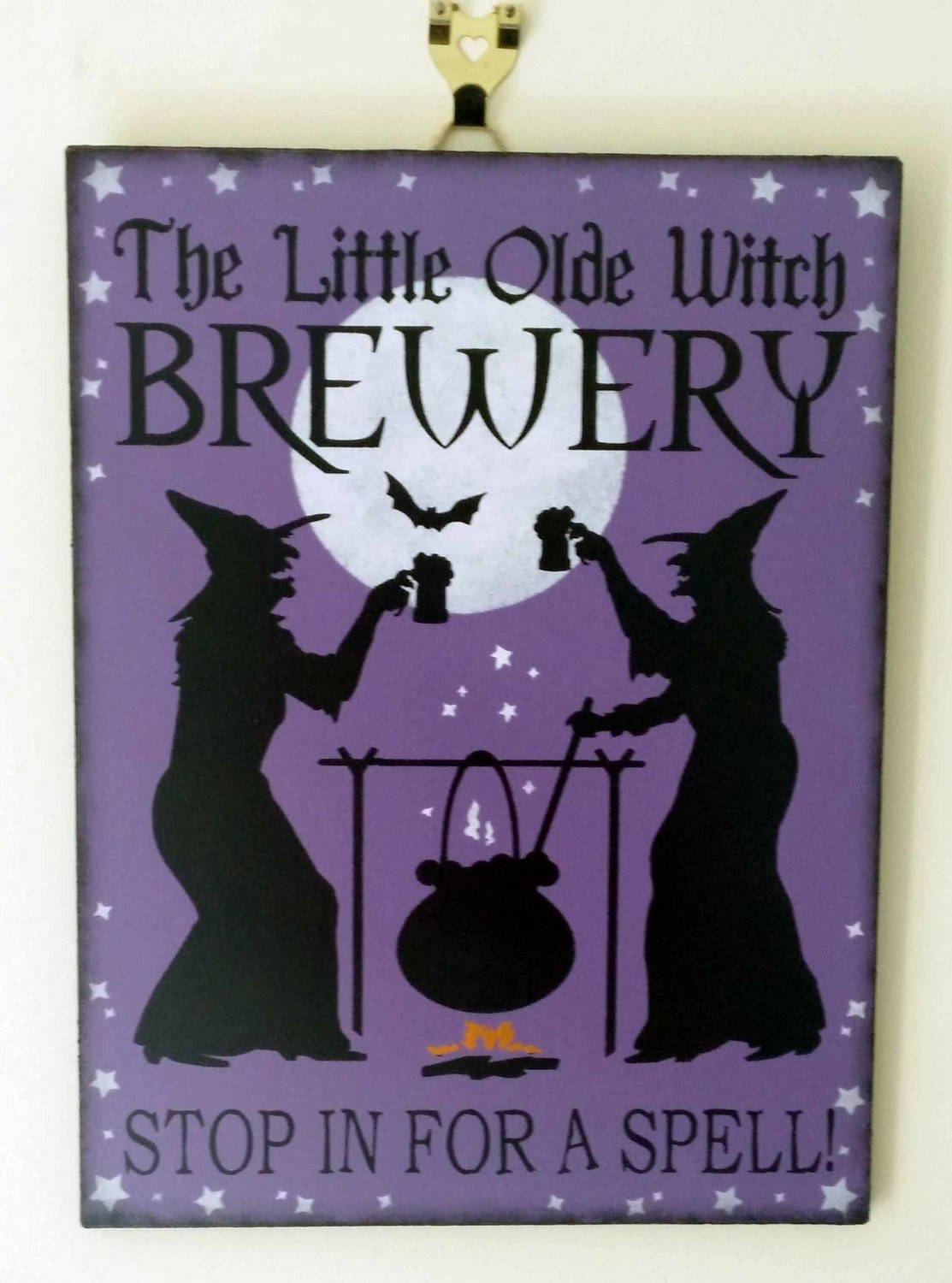 The Little Olde Witch Brewery Wooden Sign - Purple