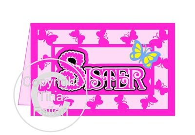 Sister Butterfly Card with layered word topper