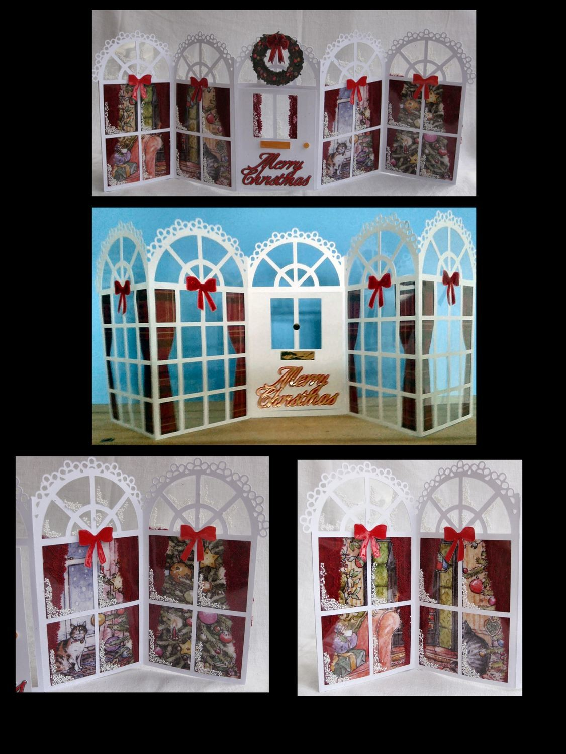 Christmas Windows / Doors Tri Fold Gatefold Card template with image sheet Christmas Scenes by the fire