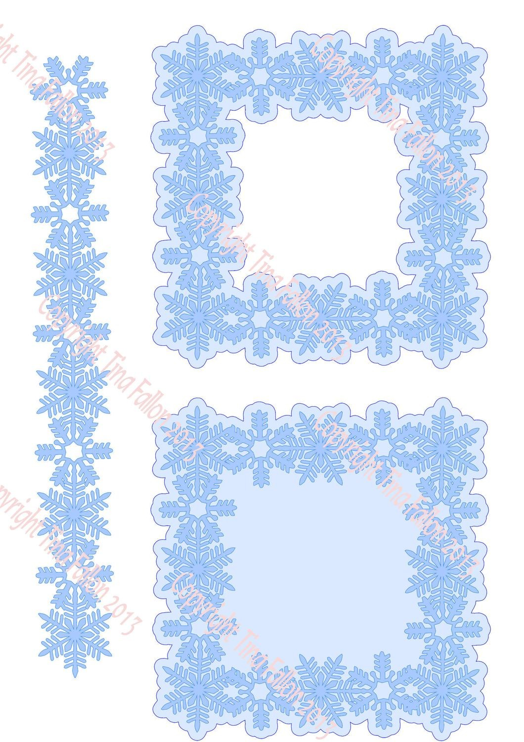 Frosty Kissed Snowflake 7 Frame topper and border