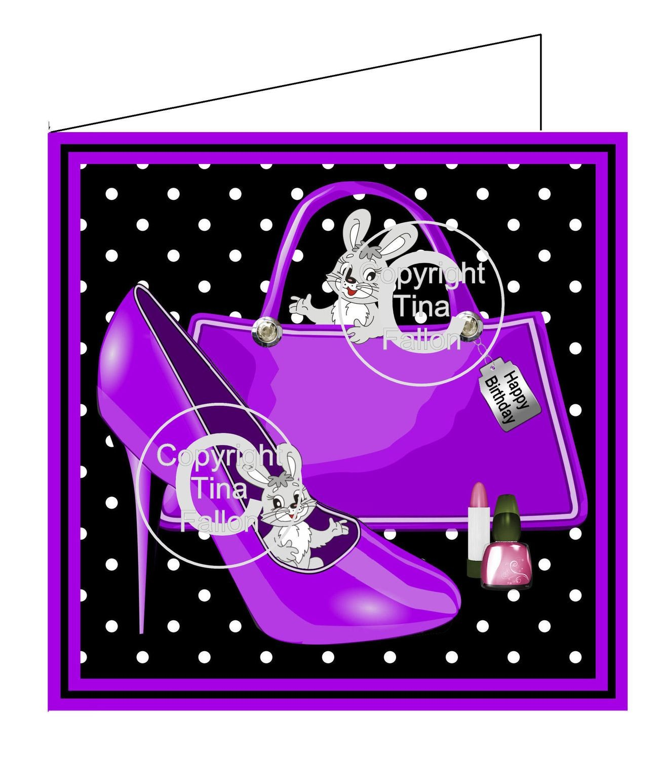 Bag, shoe and bunnies Print and Cut Card Template