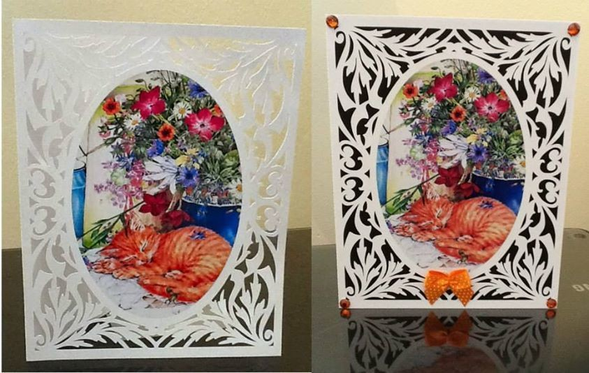All In One Card, Flourish with Ginger Cat PNC