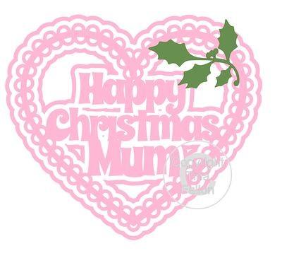 Christmas Heart Mum Card Topper / Hanging Ornament