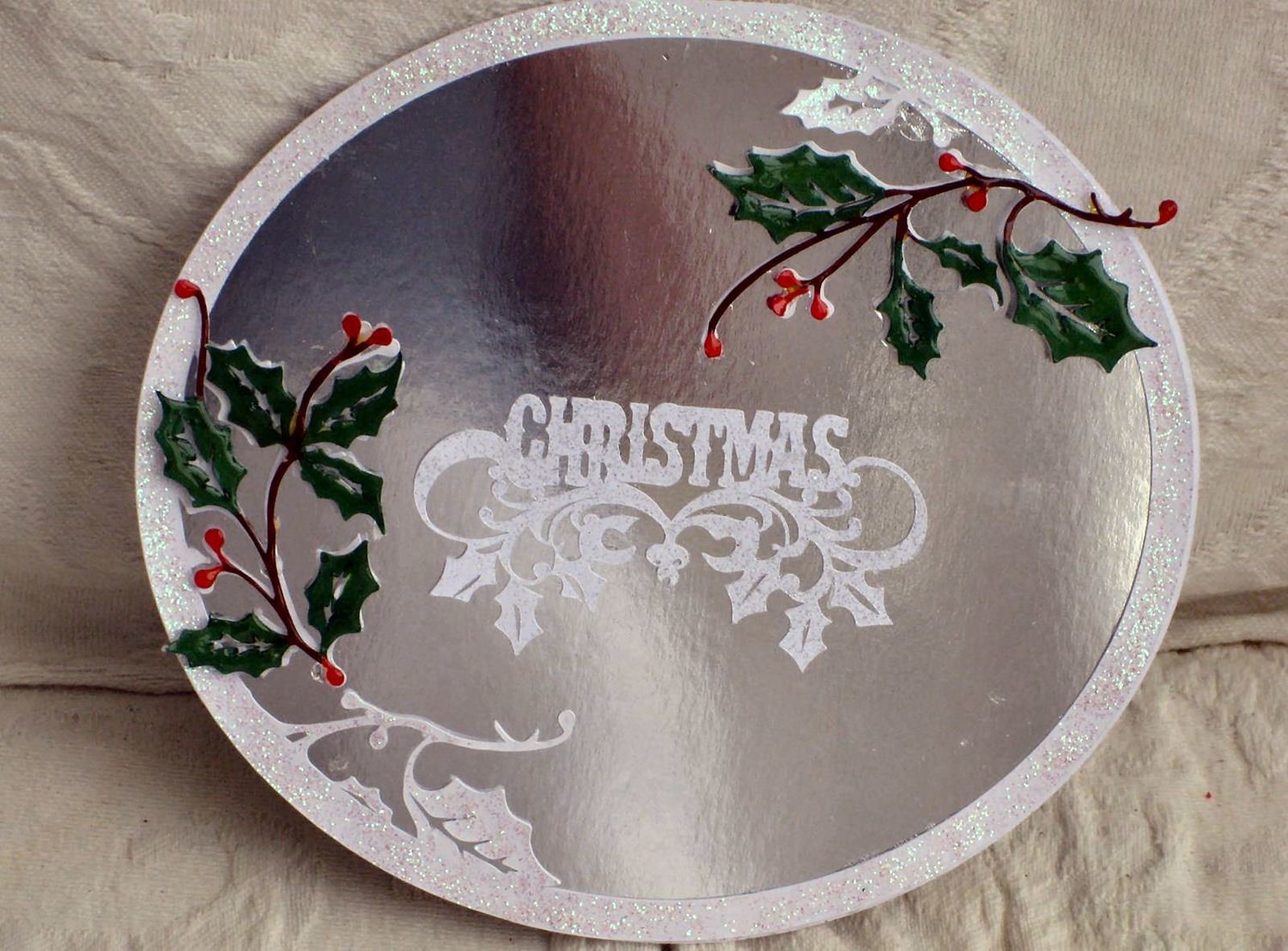 Oval Holly Frame  Card Topper
