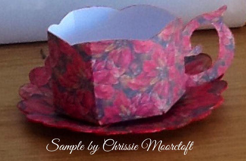 Christmas Poinsettia Cup and Saucer Set  Print n Cut