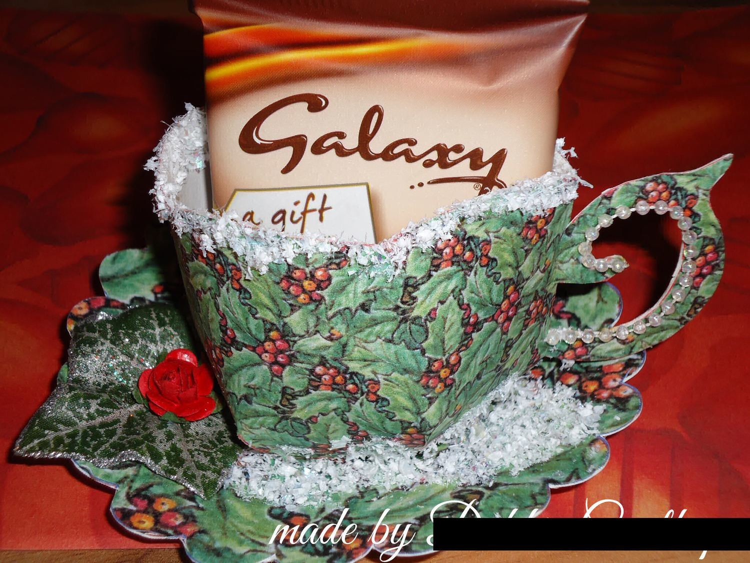 Christmas Holly design Cup and Saucer Set  Print n Cut