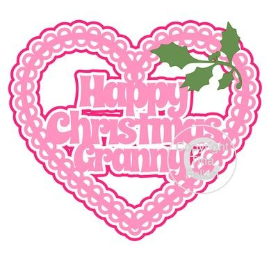 Christmas Heart Granny Card Topper / Hanging Ornament