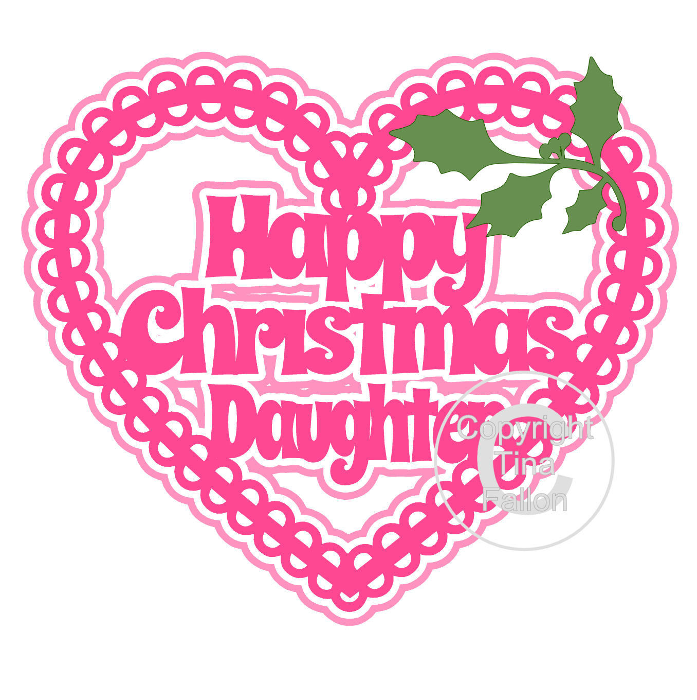 Christmas Heart Daughter Card Topper / Hanging Ornament