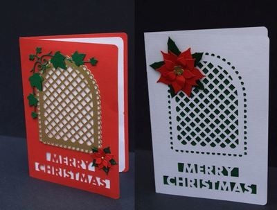 Christmas Card Template - with trellis cut out and layering  FCM Scan n Cut