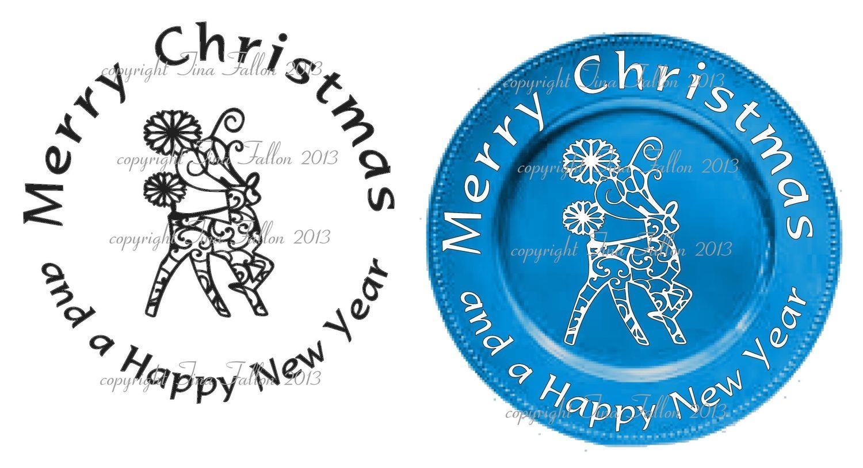Reindeer Vinyl design for Christmas charger plates