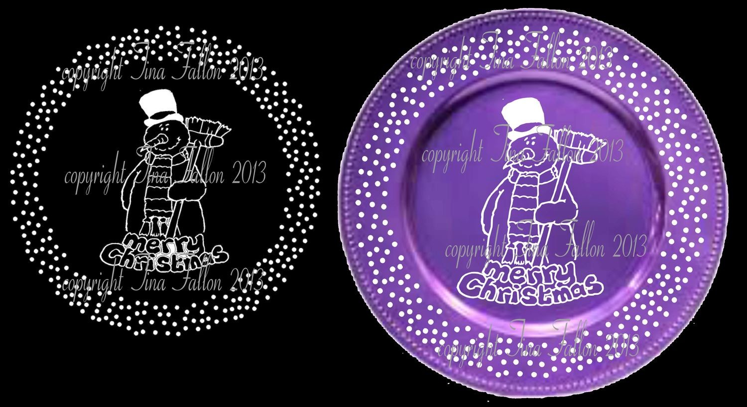 Snowman Vinyl design for Christmas charger plates