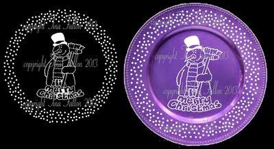 Snowman Vinyl design for Christmas charger plates