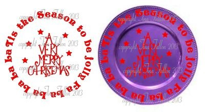 Tis The Season Vinyl design for Christmas charger plates