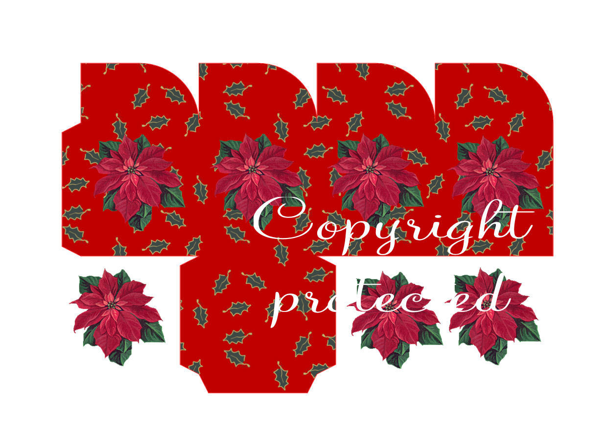 Holly on red with poinsettia - Christmas Treat Box  Print N cut for Cameo