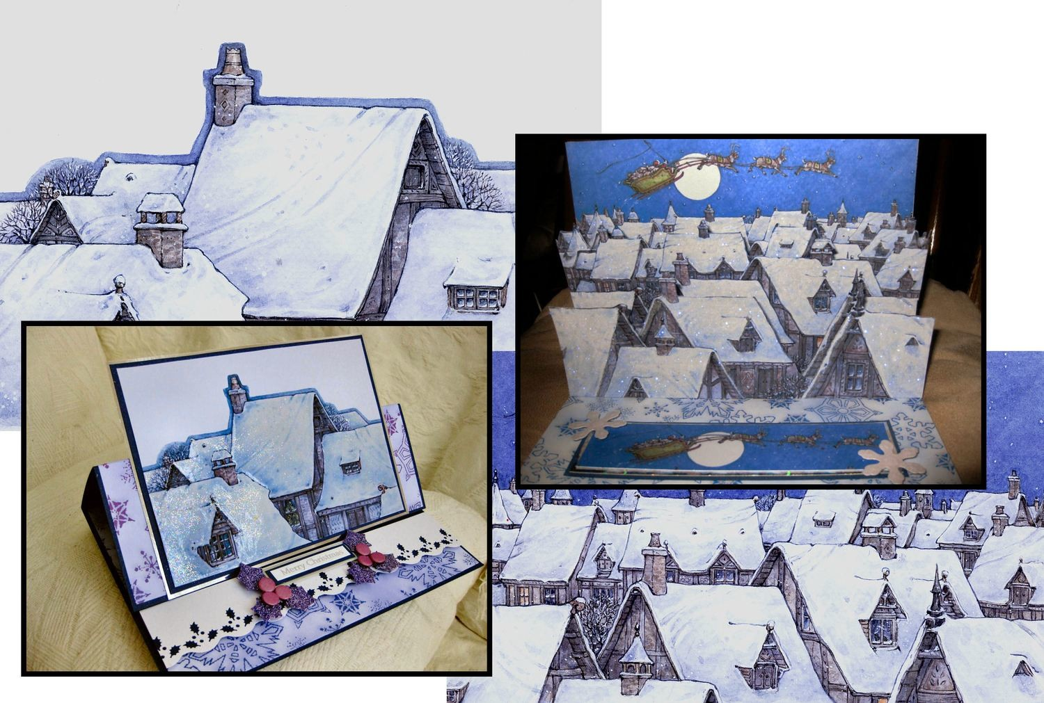 Christmas Rooftops  Decoupage Print N cut for Cameo