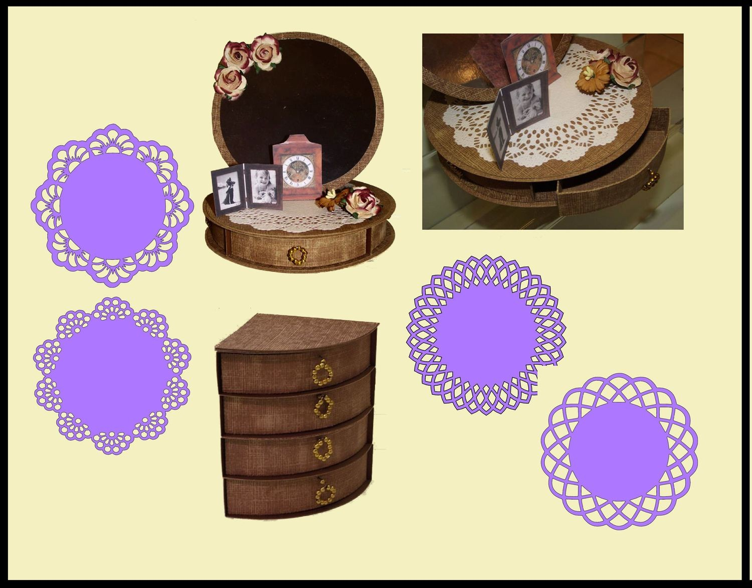 Circular Easel Card with 4 Underdrawers choice No 2 with 4 Doilies