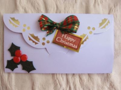 Money Gift Wallet Christmas Holly