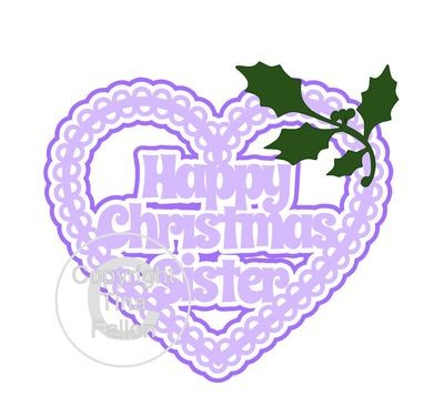 Christmas Heart Sister Card Topper / Hanging Ornament