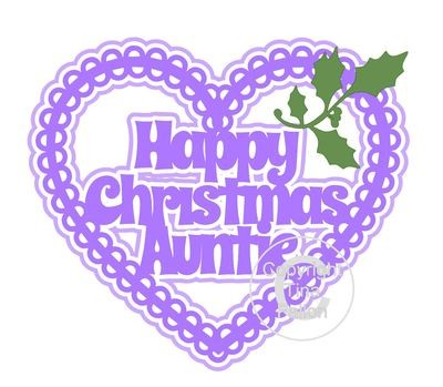 Christmas Heart Auntie Card Topper / Hanging Ornament