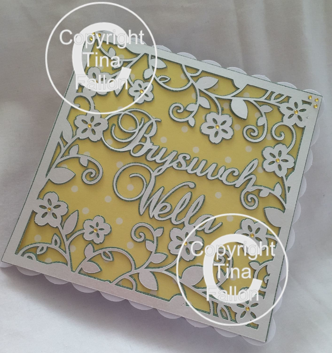 Brysiwch Wella Get Well Soon - Welsh / Wales card topper 3 layers