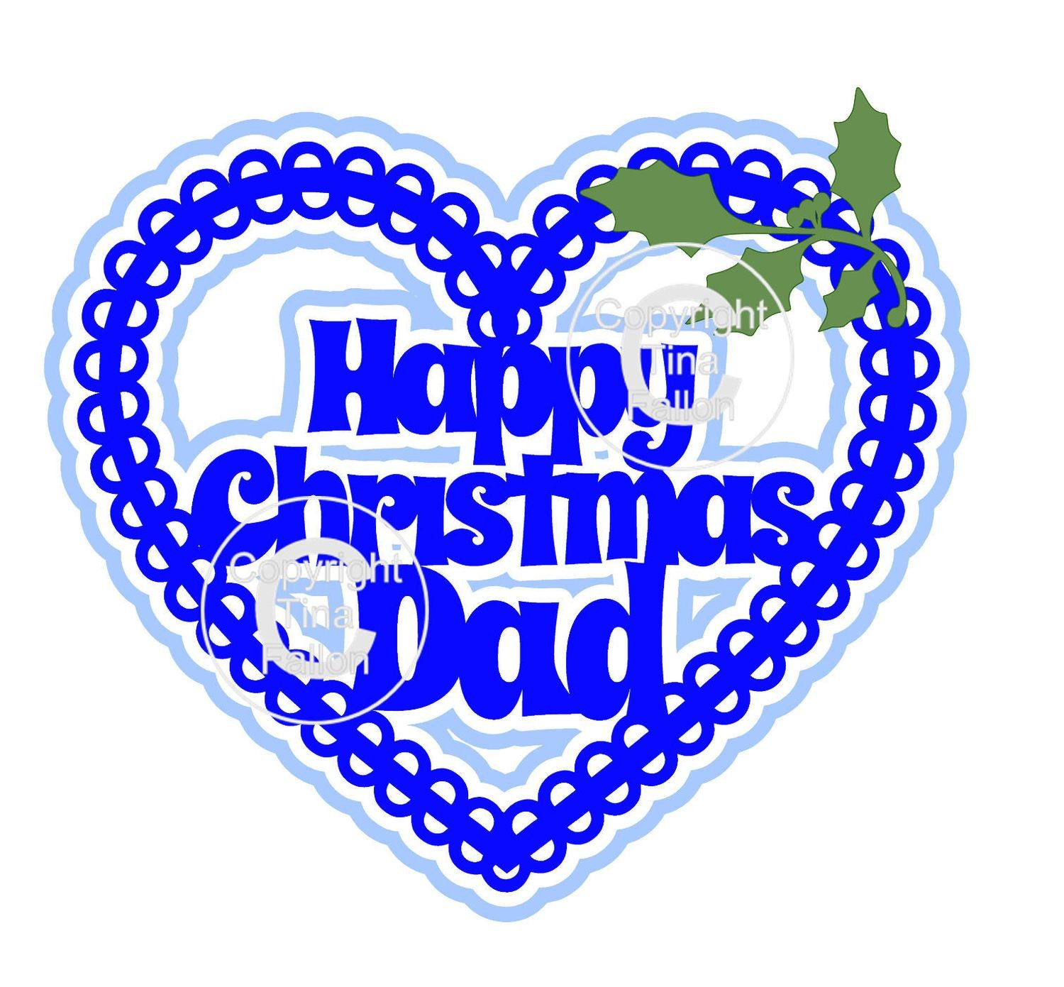 Christmas Heart DAD Card Topper / Hanging Ornament