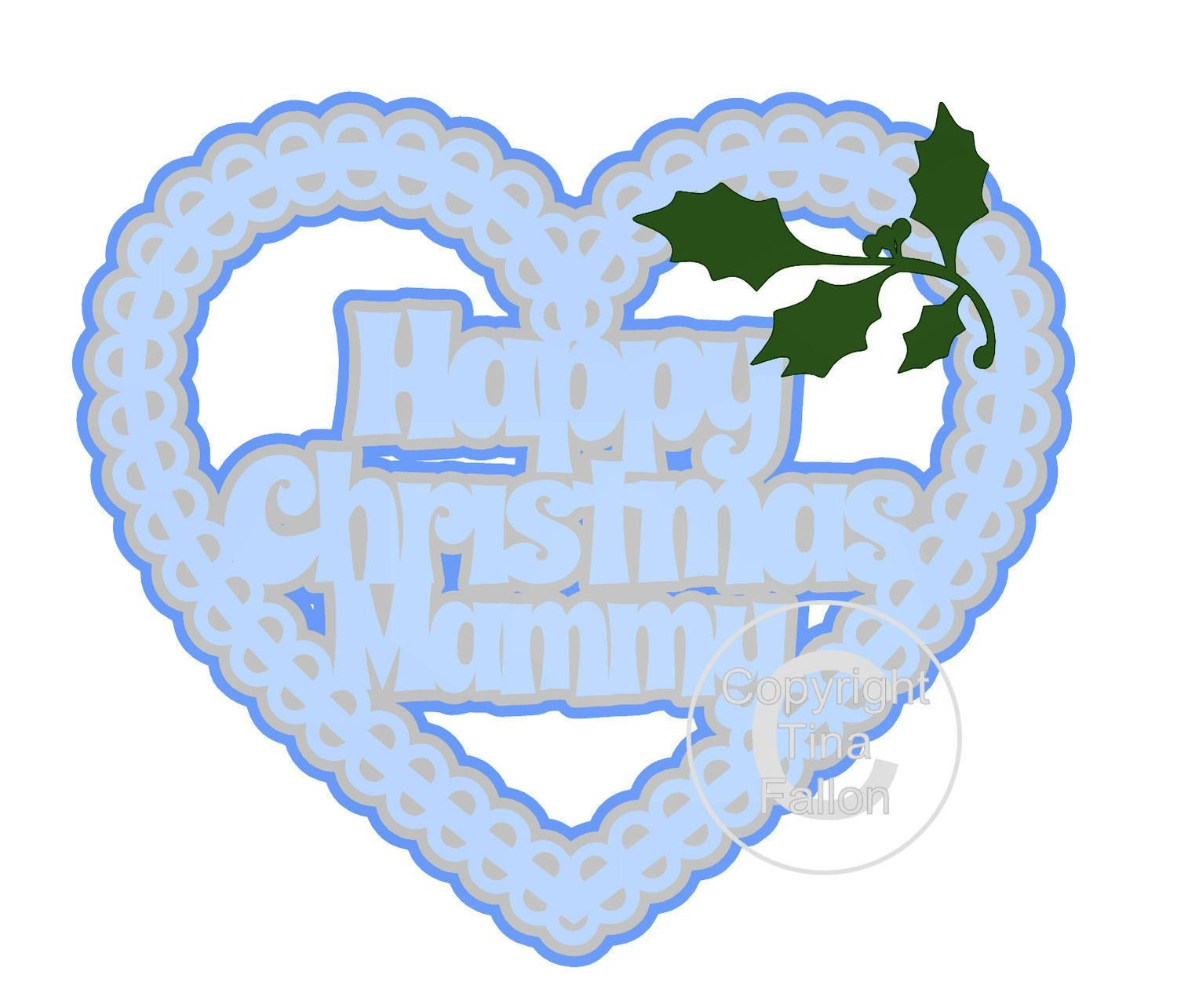 Christmas Heart Mammy Card Topper / Hanging Ornament