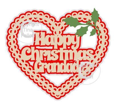 Christmas Heart Grandad Card Topper / Hanging Ornament
