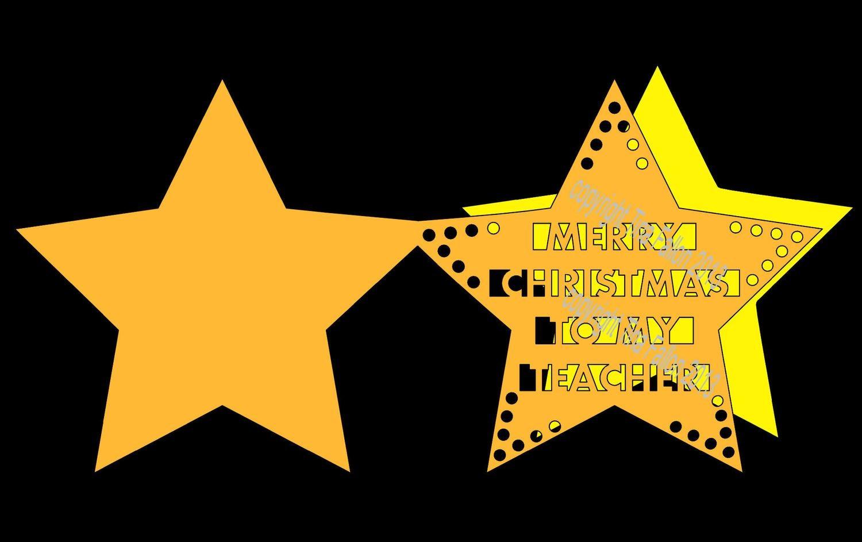 Merry Christmas TEACHER Star Card Template